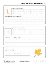 Kindergarten worksheet for tracing letter L l is for leaf. Tracing and writing practice. For more free worksheets or worksheet generators visit us at http://TeachySheets.com