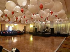 Paper lantern ceiling decorations at a corporate event at the Marriott in Newton, MA by The Prop Factory, via Flickr