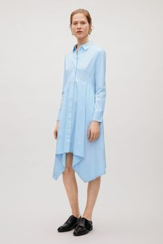 COS image 1 of Flared shirt dress in Blue Greenish Light