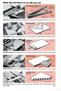5 Simple Table Saw Jigs. Stepped stop block looks like it could be pretty versatile.