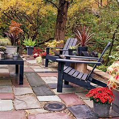 adirondack chairs, patio idea, distinct decor, floor, outdoor rooms, backyard paver ideas, stone patios, deck, garden