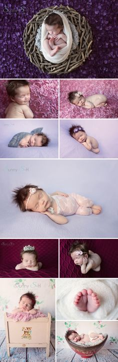 15 day old Farah. Natural light, in home newborn photo shoot. Lots of fun girly props and colors. Sunny S-H Photography