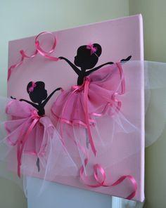 Bailarinas baila en tutús rosa. Kids salón de decoración de la pared.
