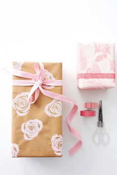 celery stamped gift wrap