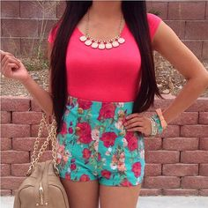 Floral High waisted shorts♥♥