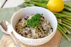 Asparagus Portabella Risotto--want to play around with this so I don't have to cook the asparagus so long.