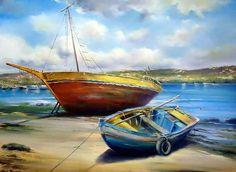 Oil on canvas - Hector jr  Barcos da Ribeira