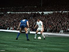 3rd June 1971. Terry Cooper is faced by Juventus' Causio in the Inter City Fairs Cup Final Second Leg. Elland Road.