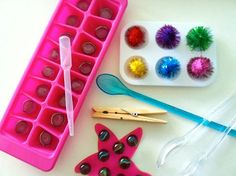 Montessori On the Go $15 Included in this kit are:  -Paint tray with pompoms  -Bath mat (styles vary) with marbles  -Ice cube tray with glass pebbles  -Transfer tools: tongs, large clothespin (for squeeze and transfer), spoon, dropper