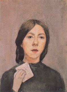 Self Portrait with Letter (1907-1909). Gwen John (Welsh, 1876-1939). Watercolour and pencil on paper. Musée Rodin. Paris. John shows herself vacillating between speaking and letter-writing; she holds a letter in her hand, her mouth is slightly open and her expression shows intense anticipation. The self-portrait was sent to Augustus Rodin, with whom she had a passionate relationship for over ten years.
