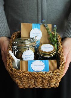 Love this gift hamper idea with coordinated labels and ribbons on the treats inside