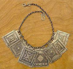 Ida Ou Nadif rare silver charms on sterling silver chain | Design by Santa Fe Marrakech.