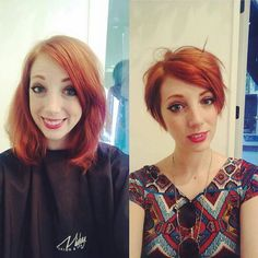 Long Pixie Cut for Straight Carrot-Red Hair