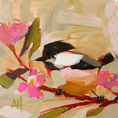Chickadee no. 723 original bird oil painting by  Angela Moulton 6 x 6 inch on panel pre-order by prattcreekart on Etsy