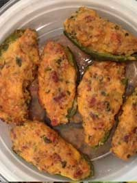 Bacon & Rice Jalapeno Poppers  10 jalapeno peppers 6 slices bacon, cooked until crispy  8 ounces cream cheese 1/2 cup shredded cheddar cheese 1/2 cup brown rice, cooked/prepared 1/4 cup fresh cilantro, coarsely chopped 1/2 teaspoon ground cumin  Click for the full recipe: http://www.q99fm.com/BreakfastClub/FDT2015.aspx