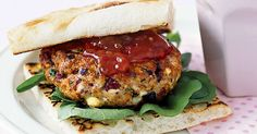 Serve juicy lamb burgers on Turkish bread rolls with olives and chutney and everyone will be asking for more!