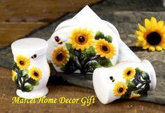 Sunflower Kitchen Accessories | sunflower napkin salt pepper set ceramic welcome to marcel home decor ...