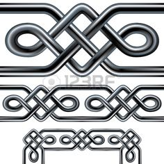 Seamless Celtic rope design element Complex interlocking stainless steel tubes in a repeatable triba Stock Vector