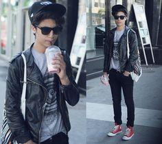Converse / Pants / Jacket / Sunglasses.