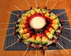 June is National Fresh Fruit and Vegetable Month, so to celebrate I decided to make these festive fruit kabobs with a low-fat cream cheese dipping sauce. These are so easy to make and they're good … Birthday Party Appetizers, Birthday Desserts, Party Desserts, Birthday Ideas, Summer Desserts, 15 Birthday, Rainbow Birthday, Party Snacks, Rainbow Fruit Kabobs