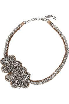 Valentino|Roses silver-plated Swarovski crystal necklace|NET-A-PORTER.COM