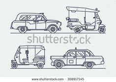 Trendy linear transport icons featuring common and exotic vehicles for hire such as taxicab, London hackney carriage cab, indian baby taxi and oriental tuk-tuk rickshaw | Thin line taxi icons - stock vector