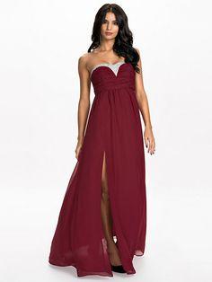 Empire Bejeweled Dress - Nly Eve - Burgundy - Festklänningar - Kläder - Kvinna - Nelly.com