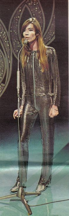 Françoise Hardy in Paco Rabanne chain-mail jumpsuit
