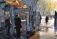 By John Salminen,  Watercolor,Title: Morning in Paris, Original Dimensions: 24 x 36