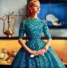 Jeanne Carr design for Jonathan Logan, 1955 Vintage Glamour, Vintage Beauty, Fifties Fashion, Retro Fashion, Vintage Fashion, 1950s Style, Vintage Outfits, Vintage Dresses, Vintage Inspired Dresses