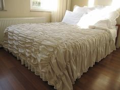 RUCHED bedding duvet cover-Waterfall ruffle Oatmeal by nurdanceyiz