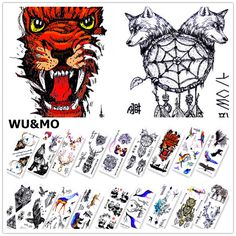 [Visit to Buy] WM Cool Animals Fish Wolf Deer Body Art Sexy Waterproof Temporary Tattoo For Man Woman Henna Fake Flash Tattoo Stickers
