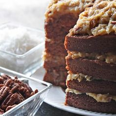 It's tall. It's magnificent. It's the quintessential German Chocolate Cake--Four layers with classic coconut pecan filling. This cake's oh-so-tender crumb results from the combination of low-protein flour (cake flour) and a little acid (buttermilk.)