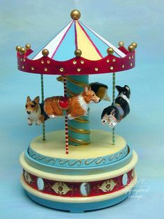 Pembroke Welsh Corgi Original Sculpture Corgi Carousel One-of-a-kind Art