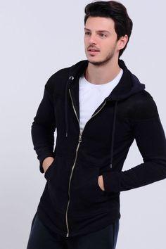 8aec61c70fe9e Deri Detay Kapşonlu Lacivert ceket #giyim #indirim #kampanya #bayan #erkek #