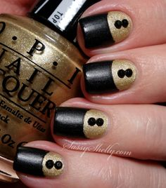 Sassy Shelly: Nails and Attitude: Digit-al Dozen DOES Vintage Day 1: OPI Gwen Inspired Half Moons