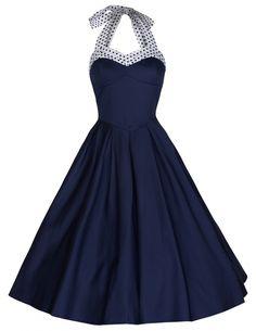 Classy vintage fifties swingjurk in navyblauw | Jurkjes | Misspoppywear, retro boetiek