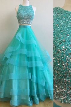 blue two pieces sequin tulle long prom dress,a line tiered tulle blue crystal evening dress