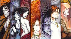 Neil Gaiman's The Endless. By: KidNotorious.    Dream - Death - Desire - Delirium - Despair - Destruction - Destiny
