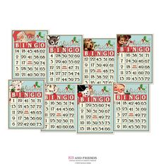 Digital Retro Santa Christmas Bingo Cards / 8 decorative vintage tags for crafts / by and by / collage sheets, individual JPEGs Christmas Bingo Cards, Christmas Mini Albums, Christmas Minis, Retro Christmas, Santa Christmas, Christmas Images, Christmas Crafts, Xmas, Scrapbook Embellishments
