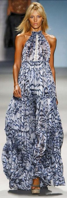 Derek Lam blue and white maxi dress. | LBV ♥✤ Solid color with contrasting sash bridesmaid dress?