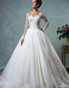 princesa lange mouwen trouwjurk