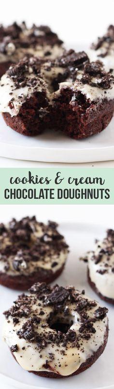 Cookies and Cream Chocolate Doughnuts - Handle the Heat