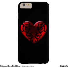 Filigree Goth Red Heart Barely There iPhone 6 Plus Case ($50) ❤ liked on Polyvore featuring accessories and tech accessories