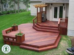 How is this one for a beautiful deck. This two level deck in Ottawa is a Tiger Deck hardwood. The stain really brings out the rich colour of this South Gazebo On Deck, Backyard Pergola, Pergola Kits, Pergola Ideas, Patio Deck Designs, Patio Design, Porches, Two Level Deck, Multi Level Decks
