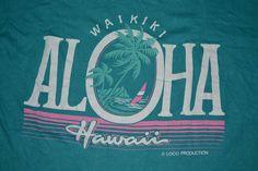 Vintage 80s WAIKIKI ALOHA HAWAII Polytees promo rare T-shirt t shirt