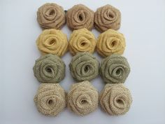 """Lovingly Handcrafted burlap fabric roses sold by the dozen. We offer a special color combination of natural, yellow, butter, potato creme, and sage consisting of 3 flowers for each color. Each burlap flower is roughly 2.5"""" in diameter and features a felt back and makes for great wedding accessories, party Twine Flowers, Burlap Fabric, Fabric Roses, Online Coloring, Fabric Online, Wedding Accessories, Color Combinations, Felt, Crochet"""