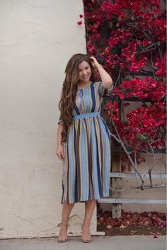 Our Arianna dress is stripes, stylish, wear it dressy or with a pair of sandals! Modest Dresses, Modest Outfits, Modest Fashion, Plus Size Dresses, Cute Dresses, Plus Size Outfits, Casual Dresses, Fashion Dresses, Cute Outfits