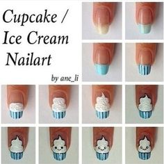 Cupcake/Icecream Nail Art How To