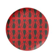 Red and Black Cat dinner plates